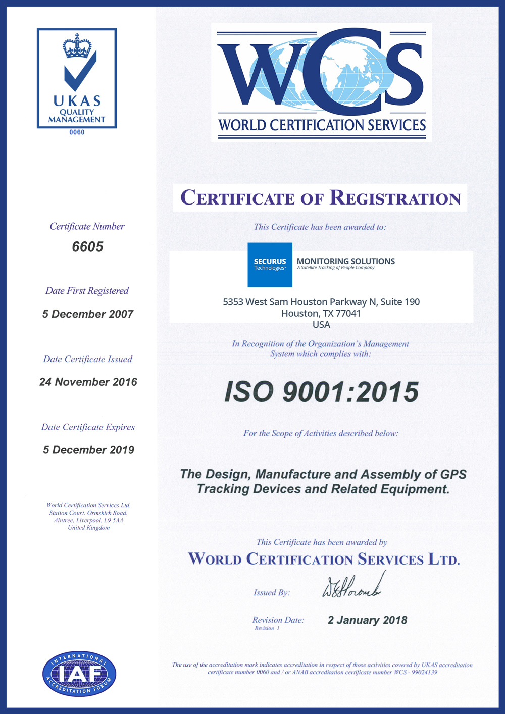 Securus Monitoring Solutions is ISO:9001 Certified