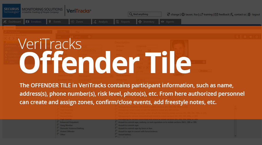 VeriTracks™ Electronic Monitoring Platform Offender Tile